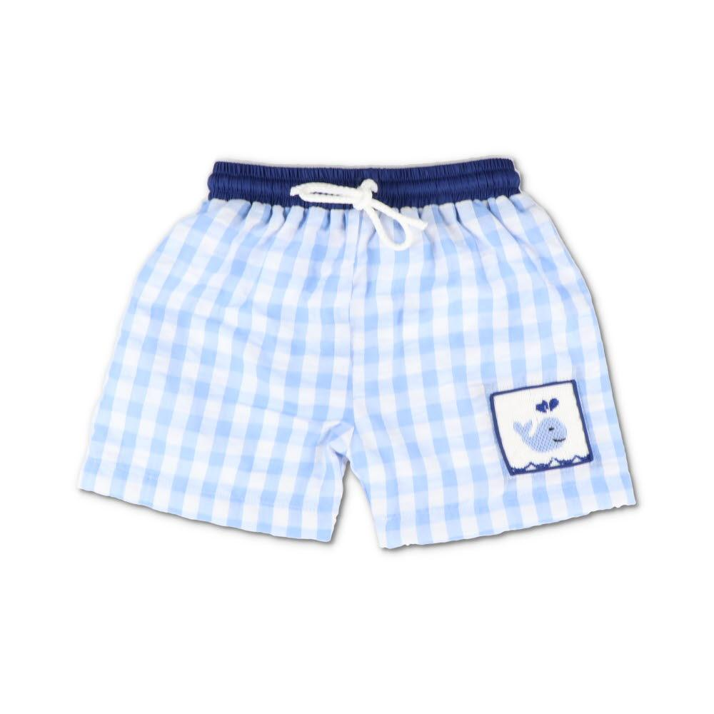 Smocked Whale Blue Gingham Swim Trunks