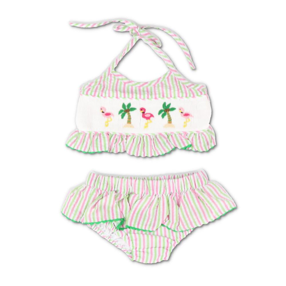 Smocked Flamingos Pink & Green Seersucker Bikini