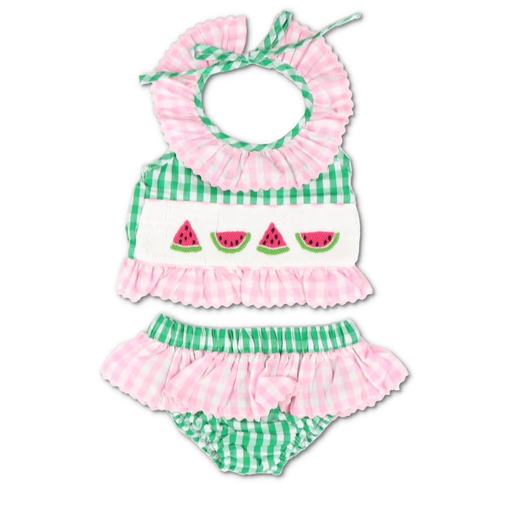 Smocked Watermelon Pink & Green Gingham Bikini