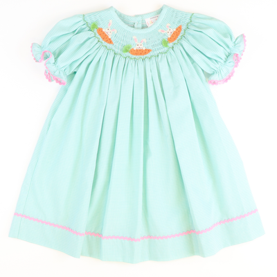 Smocked Bunnies & Carrots Bishop - Mint Mini Check