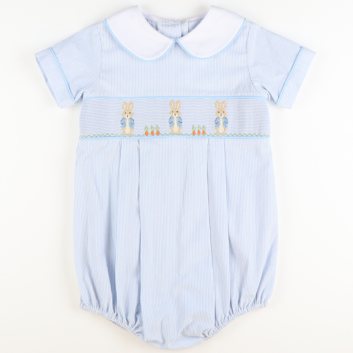 Smocked Storybook Rabbit Collared Boy Bubble - Light Blue Stripe