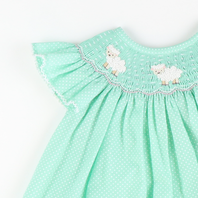 Smocked Lambs Bishop - Soft Mint Tiny Dot