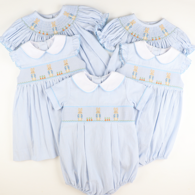 Smocked Storybook Rabbit Collared Girl Bubble - Light Blue Stripe