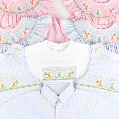 Smocked Easter Bunnies Short Sleeve Knit Shirt