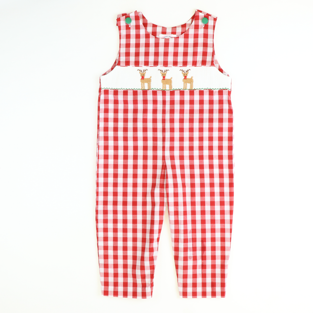 Smocked Reindeer Longall - Red Wide Check