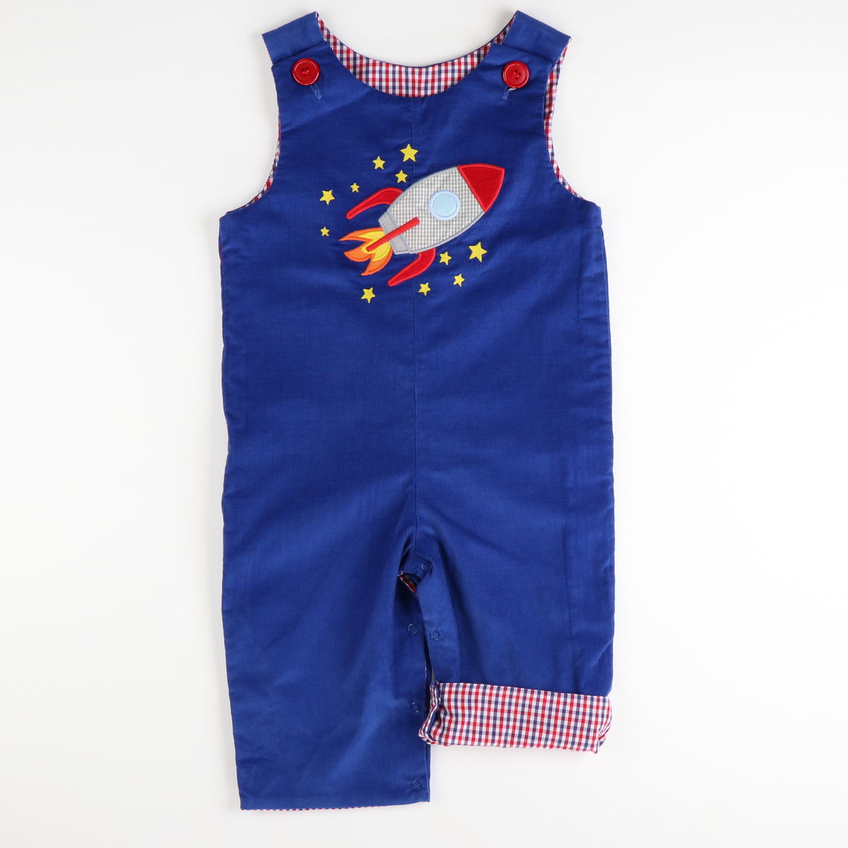 Applique Rocket Boys Overall - Royal Blue Corduroy