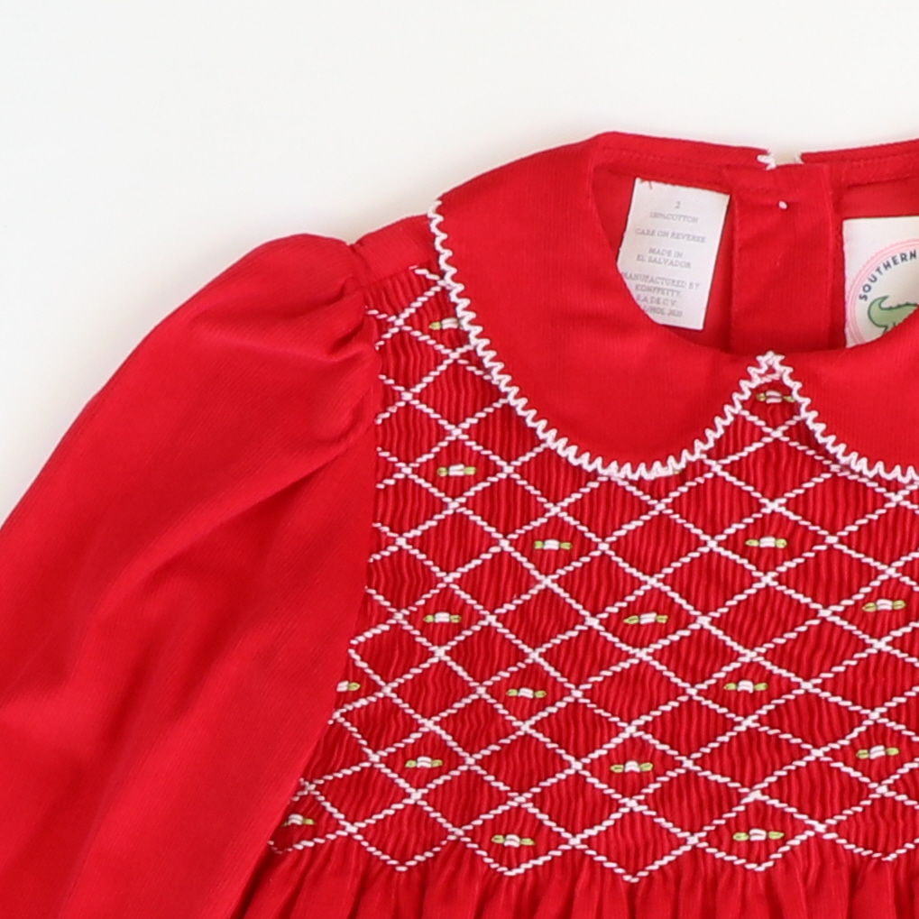 Rose Geo Smocked Collared Dress - Red Corduroy