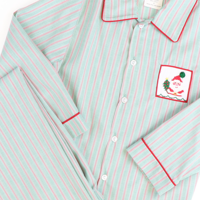 Smocked Joy Santa Boy Loungewear Set - Red & Green Stripe