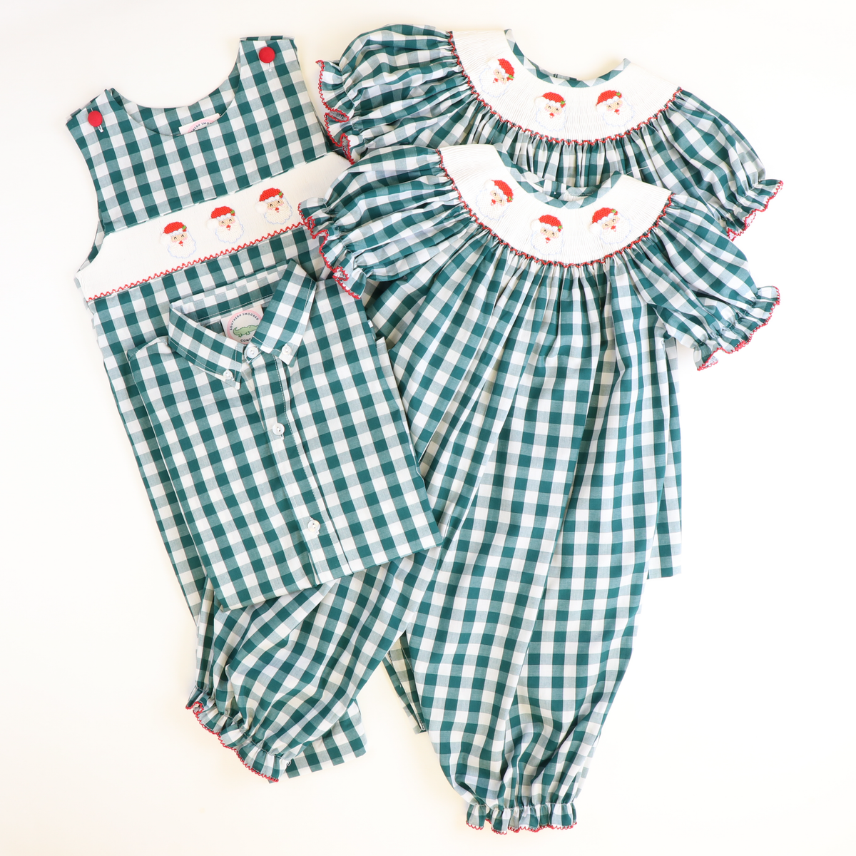 Smocked Santa Face Girl Long Bubble - Dark Green Wide Check