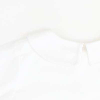 White Pique Collared Long Sleeve Shirt