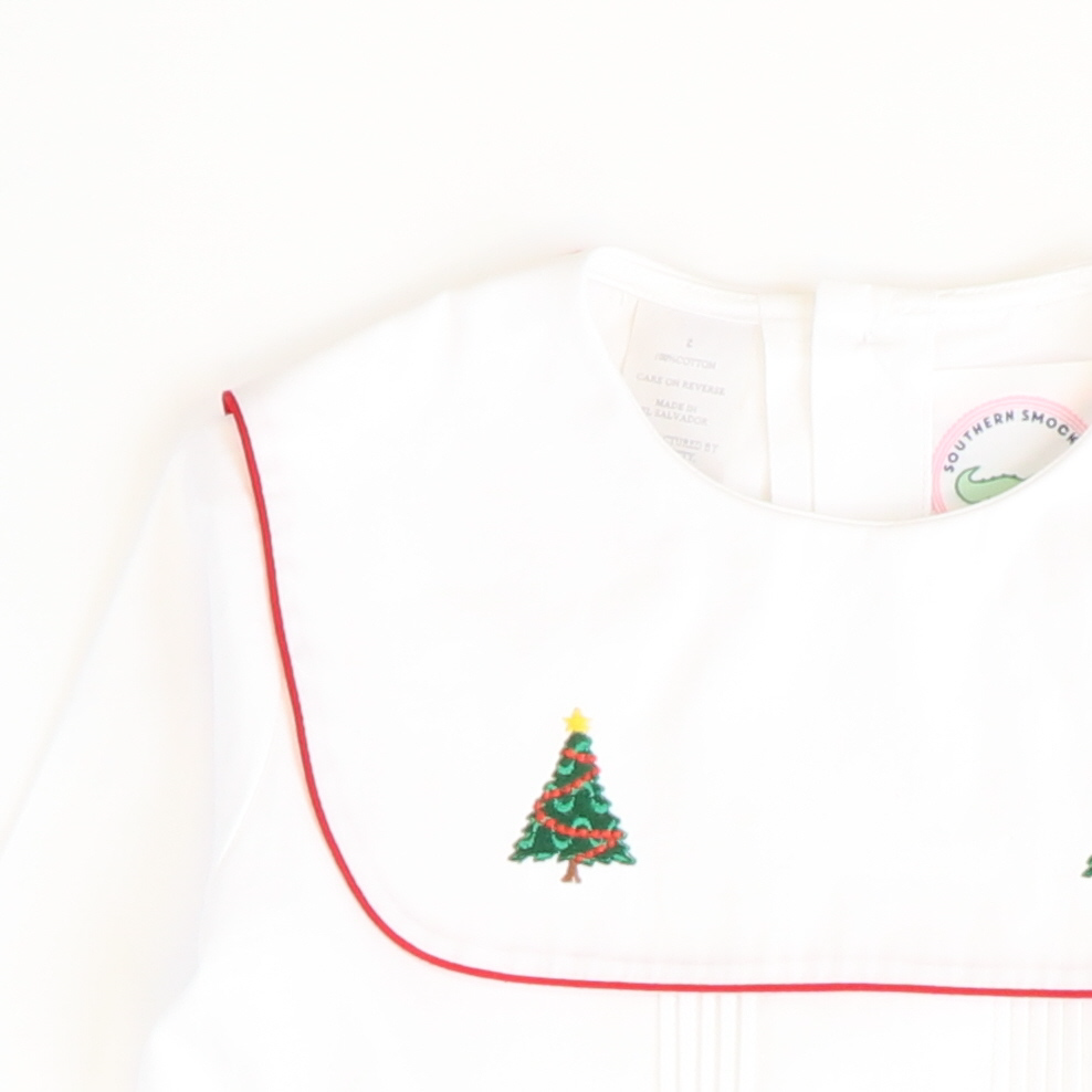 Embroidered Christmas Trees Short Set - Dark Green Mini Gingham
