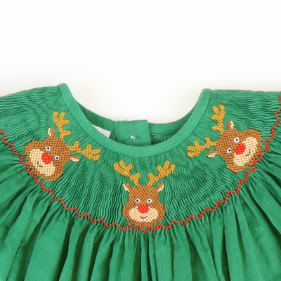Smocked Reindeer Faces Girl Long Bubble - Green Corduroy