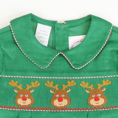 Smocked Reindeer Faces Collared Boy Long Bubble - Green Corduroy