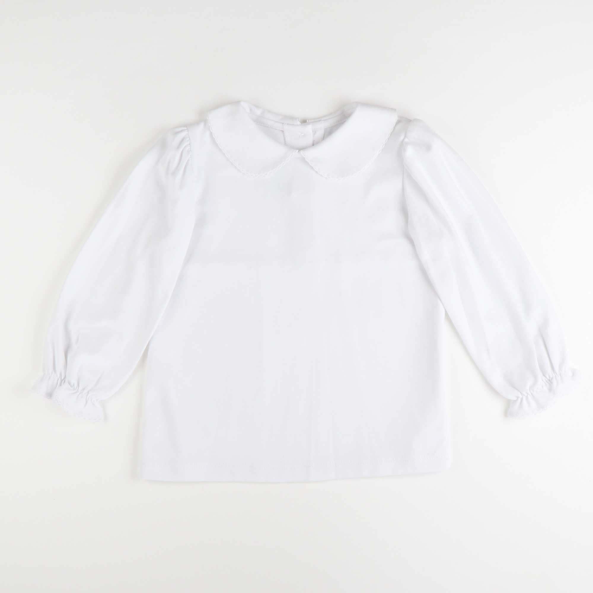 Peter Pan Collared Long Sleeve Blouse w/ Pico Trim - White Knit
