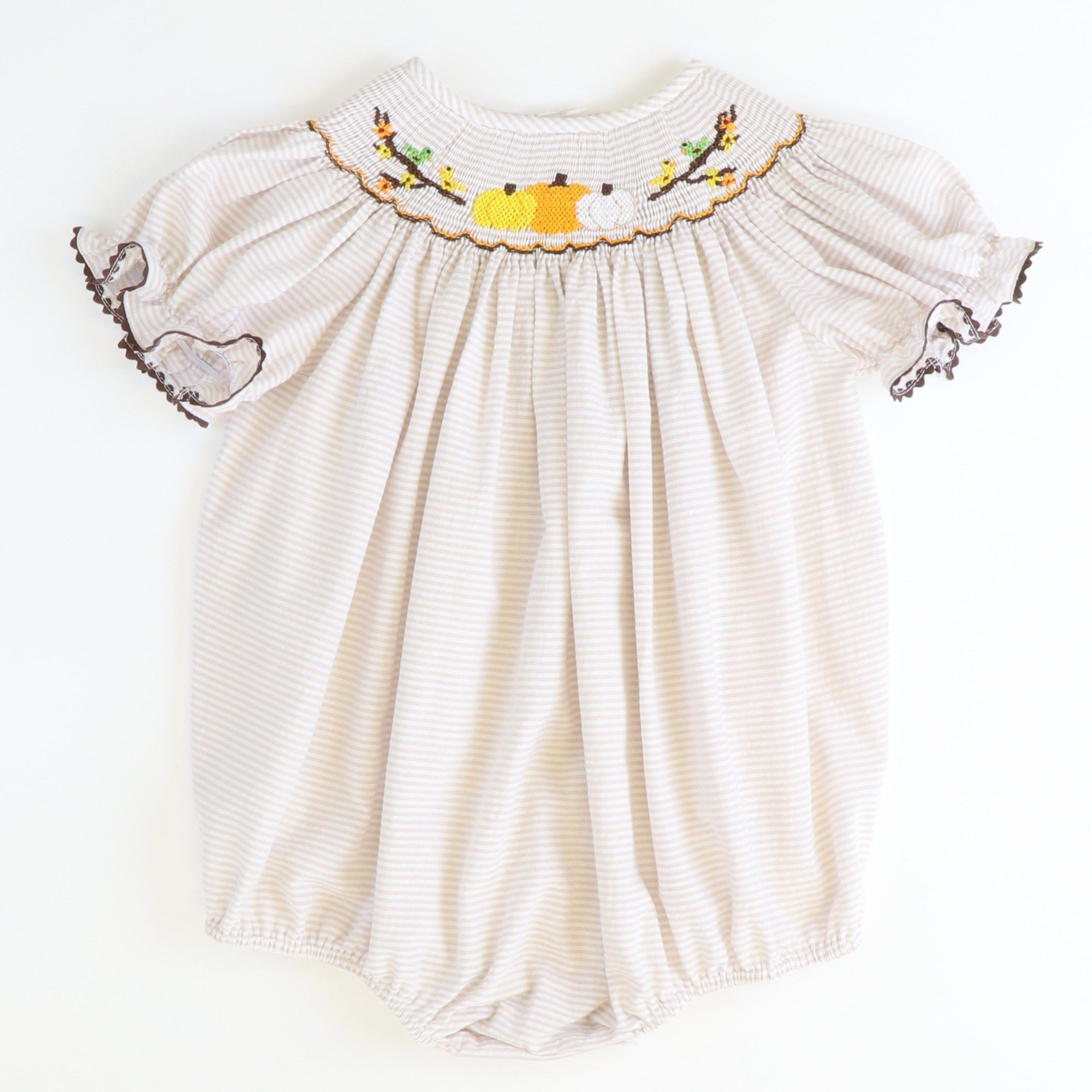 Smocked Pumpkins & Branches Girl Short Bubble - Khaki Stripe Seersucker