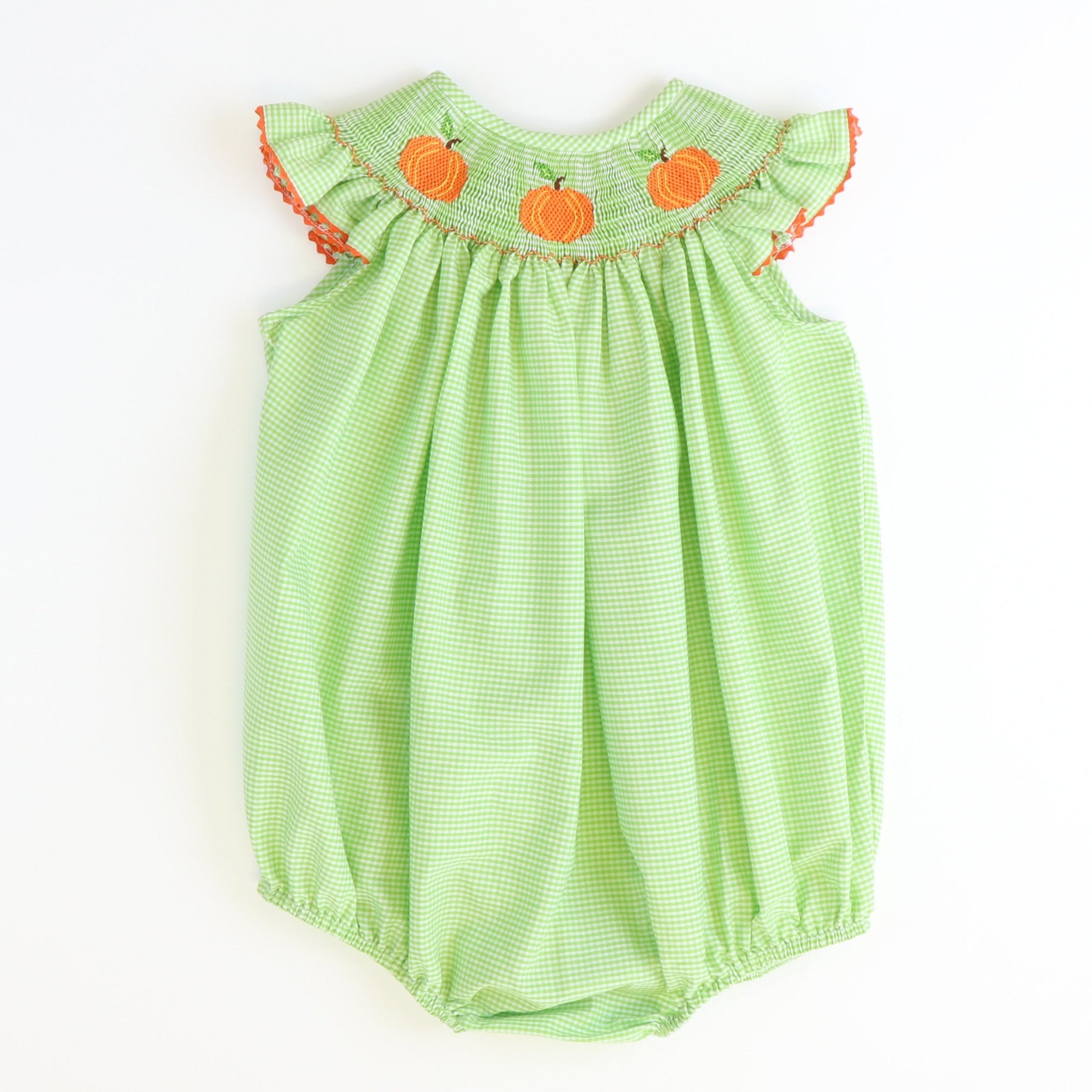 Smocked Pumpkins Bubble - Green Check