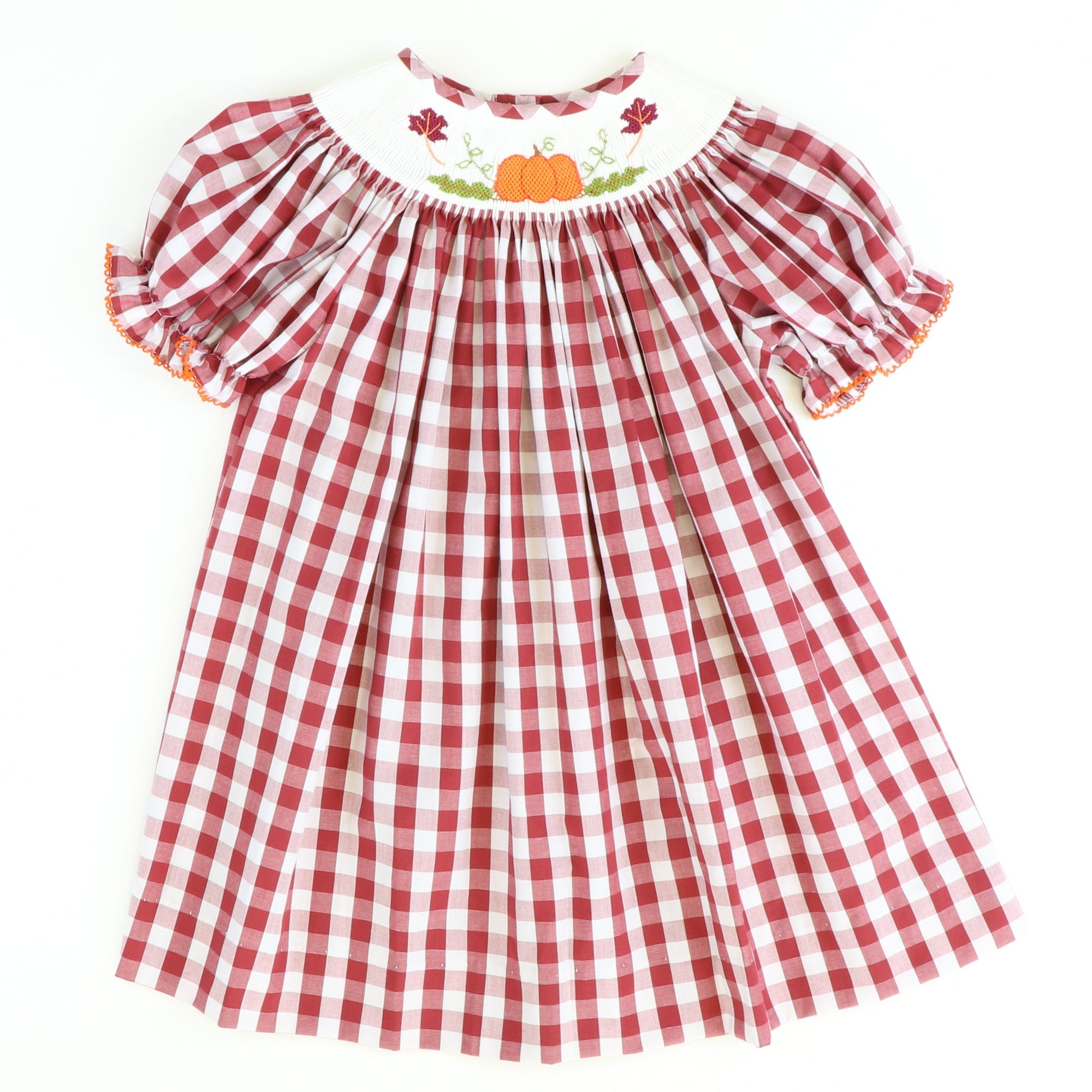 Smocked Pumpkin & Leaves Bishop - Burgundy Check