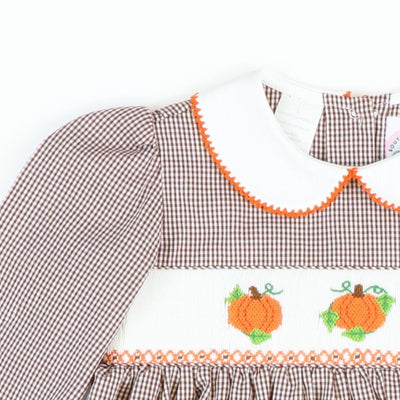 Smocked Harvest Pumpkins Dress - Brown Gingham