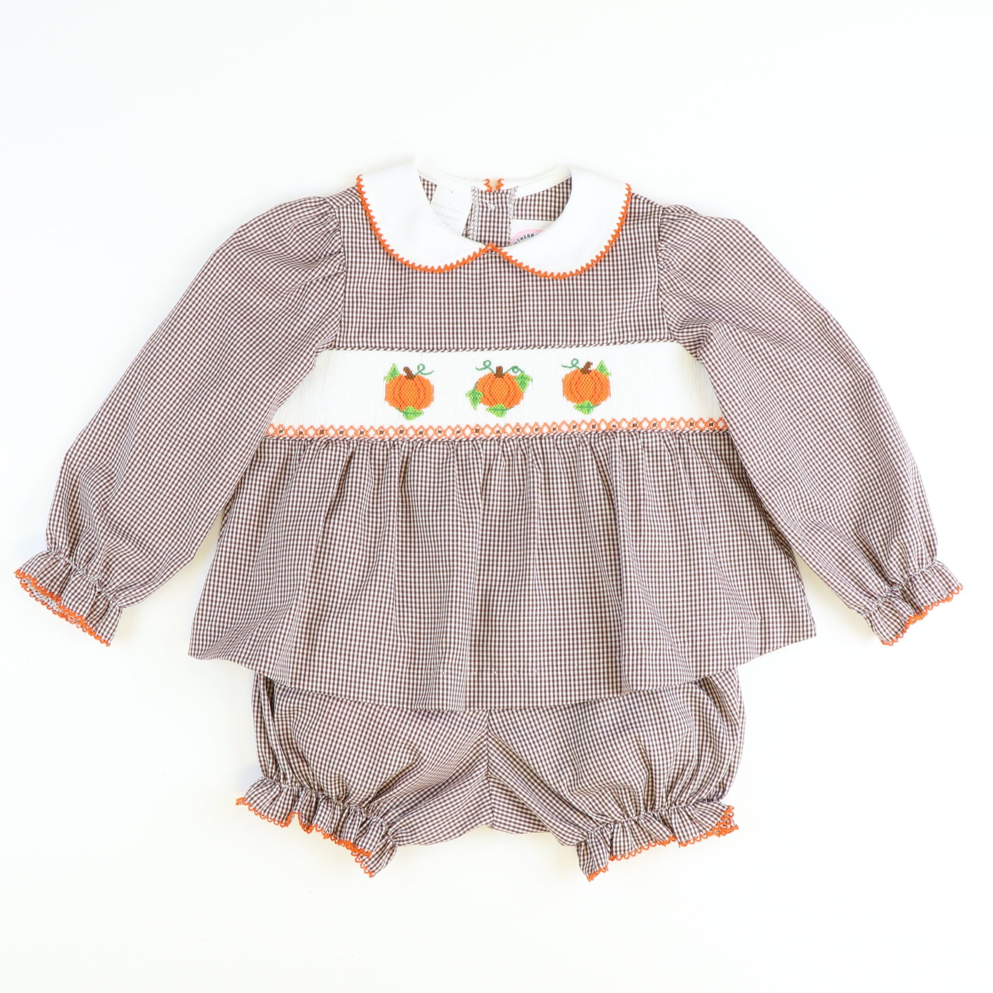 Smocked Harvest Pumpkins Top & Bloomer Set - Brown Gingham
