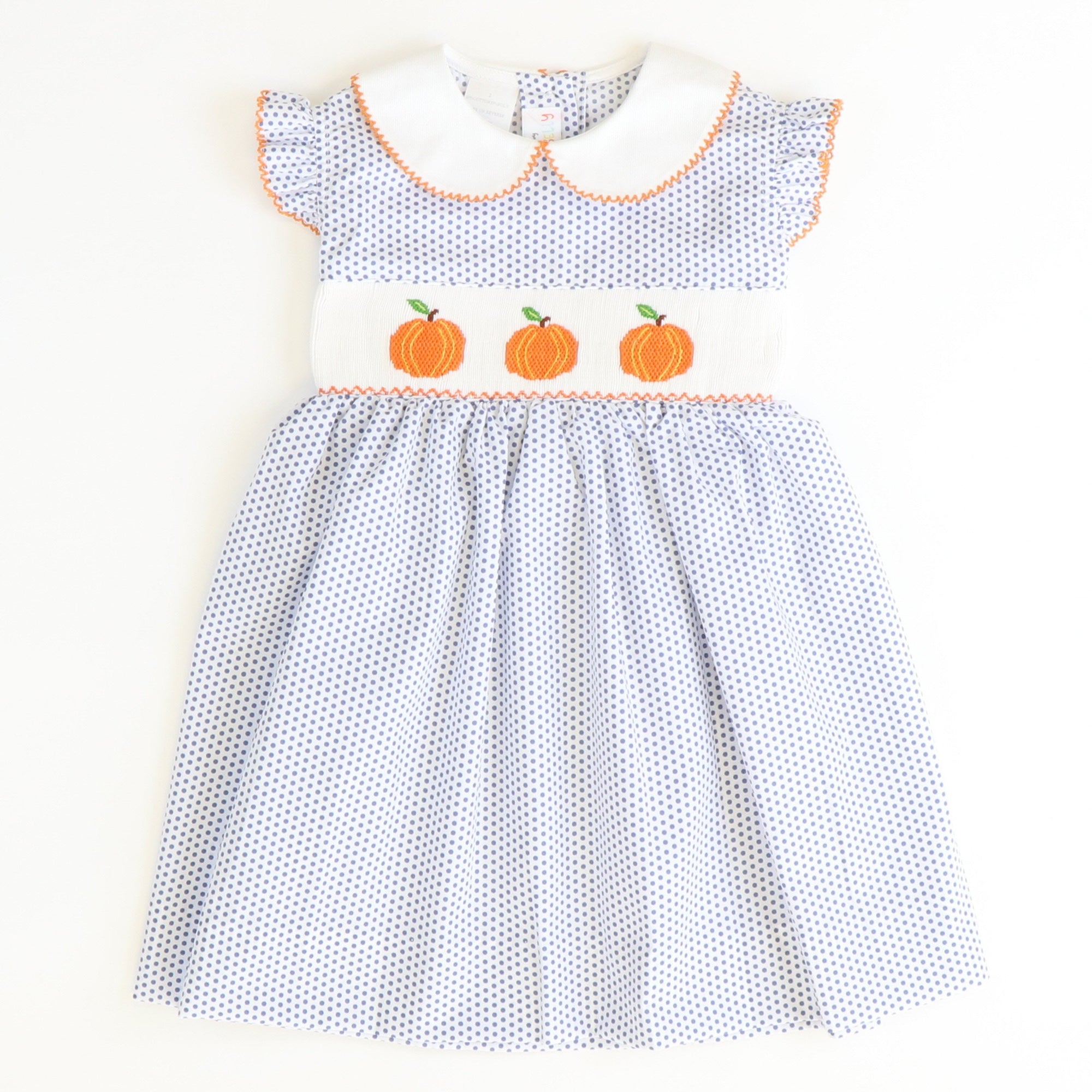 Smocked Pumpkins Collared Dress - Navy Tiny Dot