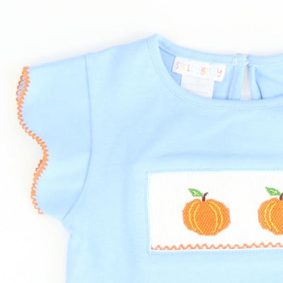 Smocked Pumpkins Scalloped Top - Light Blue