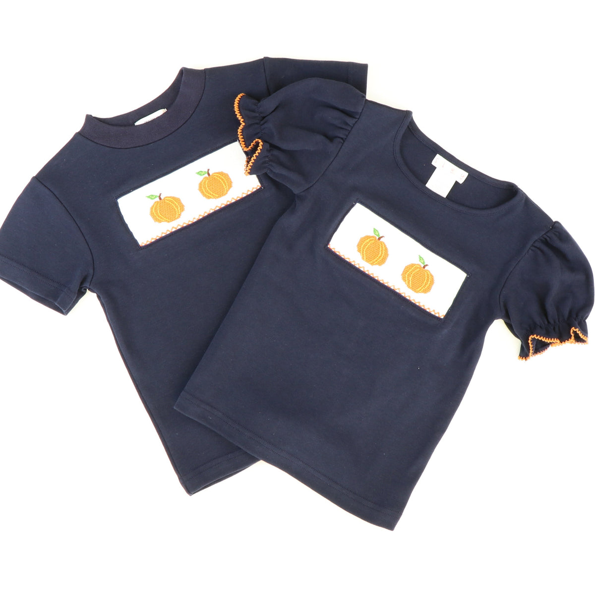 Smocked Pumpkins T-Shirt - Navy Blue