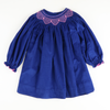 Navy & Lavender Corduroy Geo Smocked Long Sleeve Bishop
