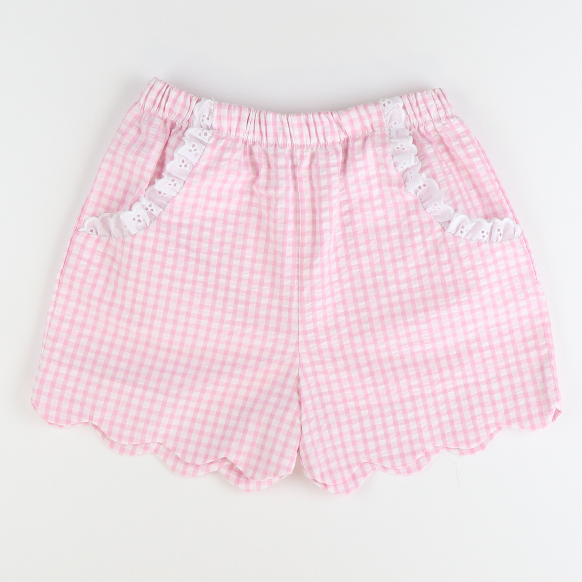 Soda Shop Scalloped Shorts - Pink Check Seersucker