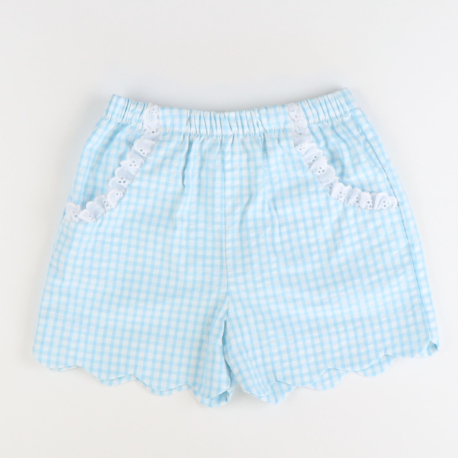Soda Shop Scalloped Shorts - Sky Check Seersucker