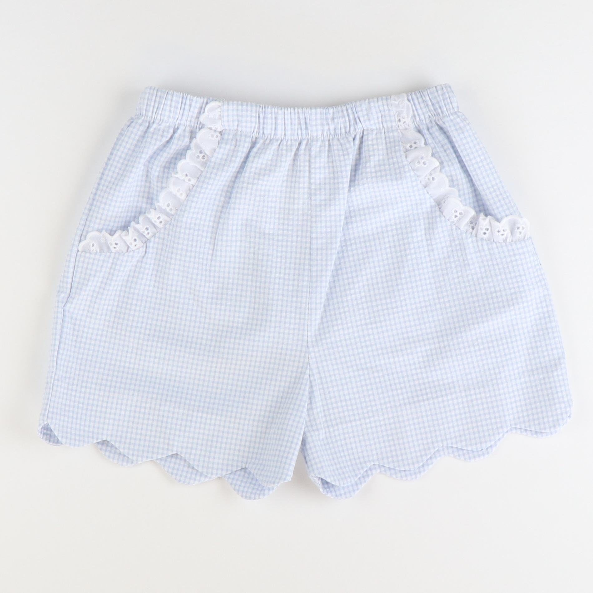 Soda Shop Scalloped Shorts - Cloud Mini Check Seersucker