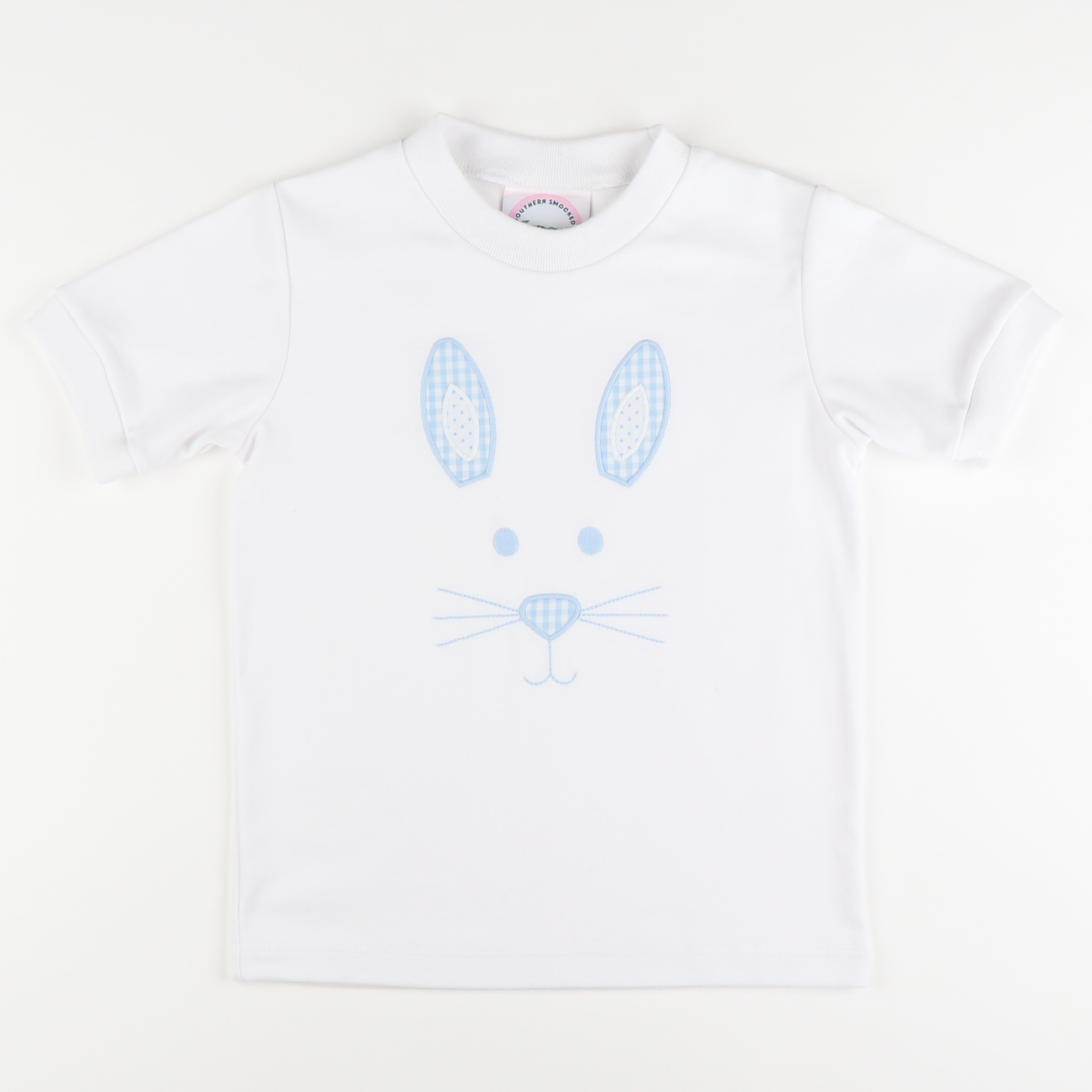 Appliqué Bunny Face Boy Short Sleeve Shirt