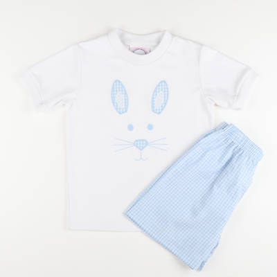 Appliqué Bunny Face Short Sleeve Boy Shirt