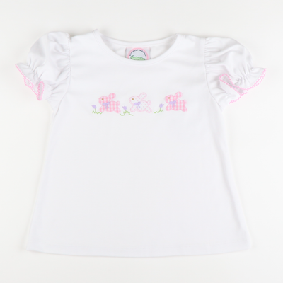 Appliqué Bunny Hop Girl Short Sleeve Shirt