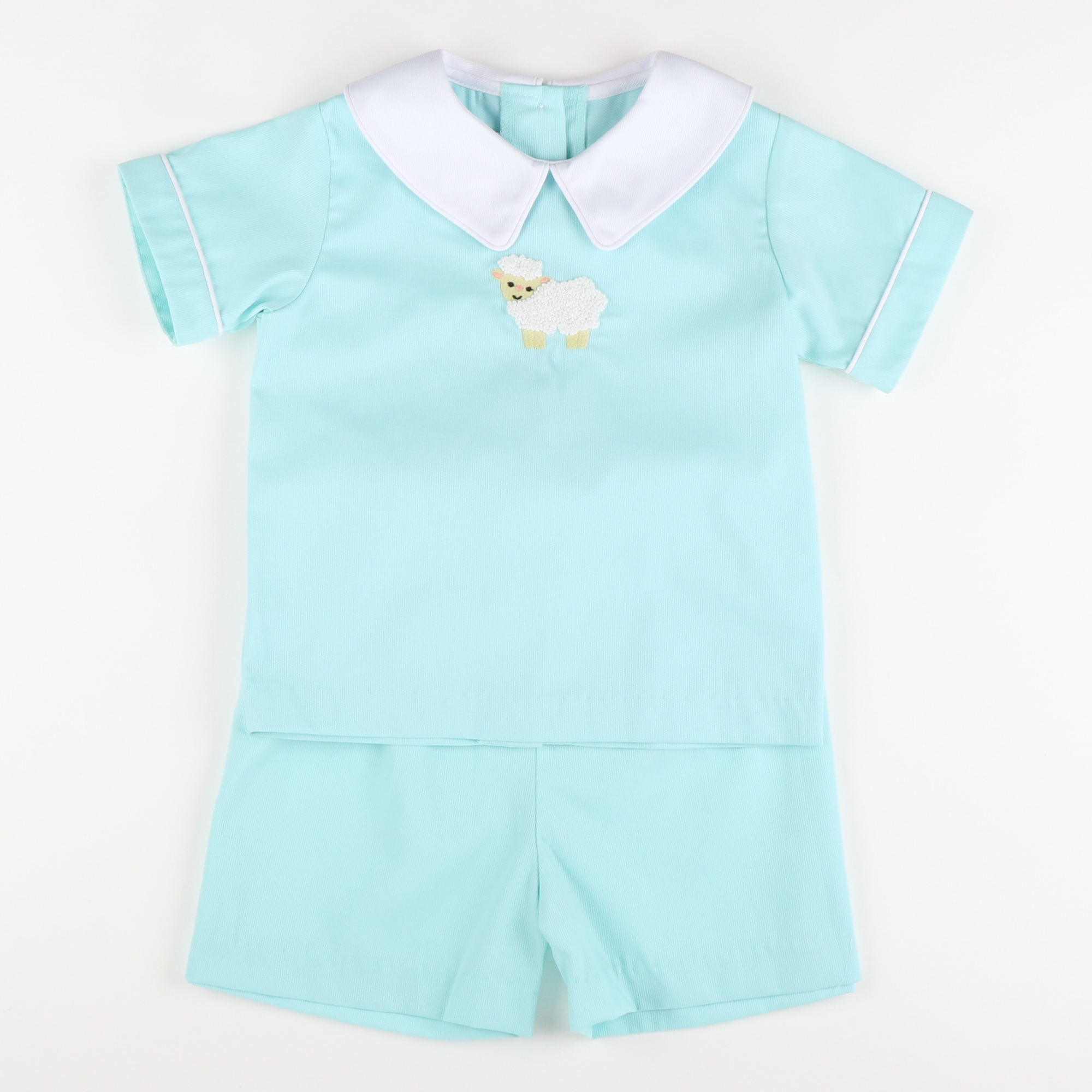 Embroidered Lamb Collared Short Set - Mint Pique