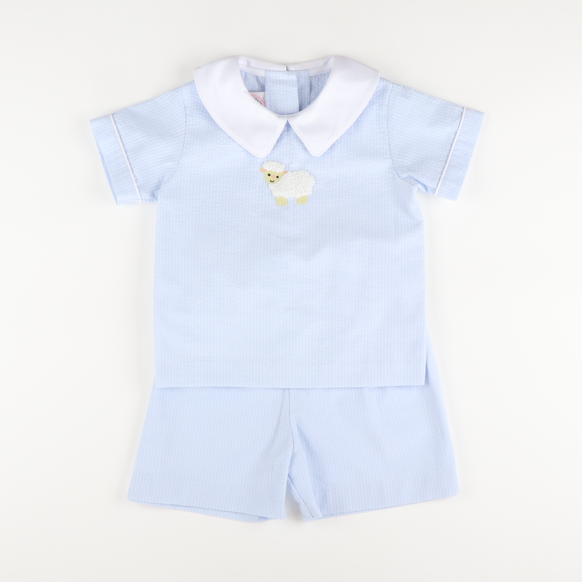Embroidered Lamb Collared Short Set - Light Blue Seersucker Chambray