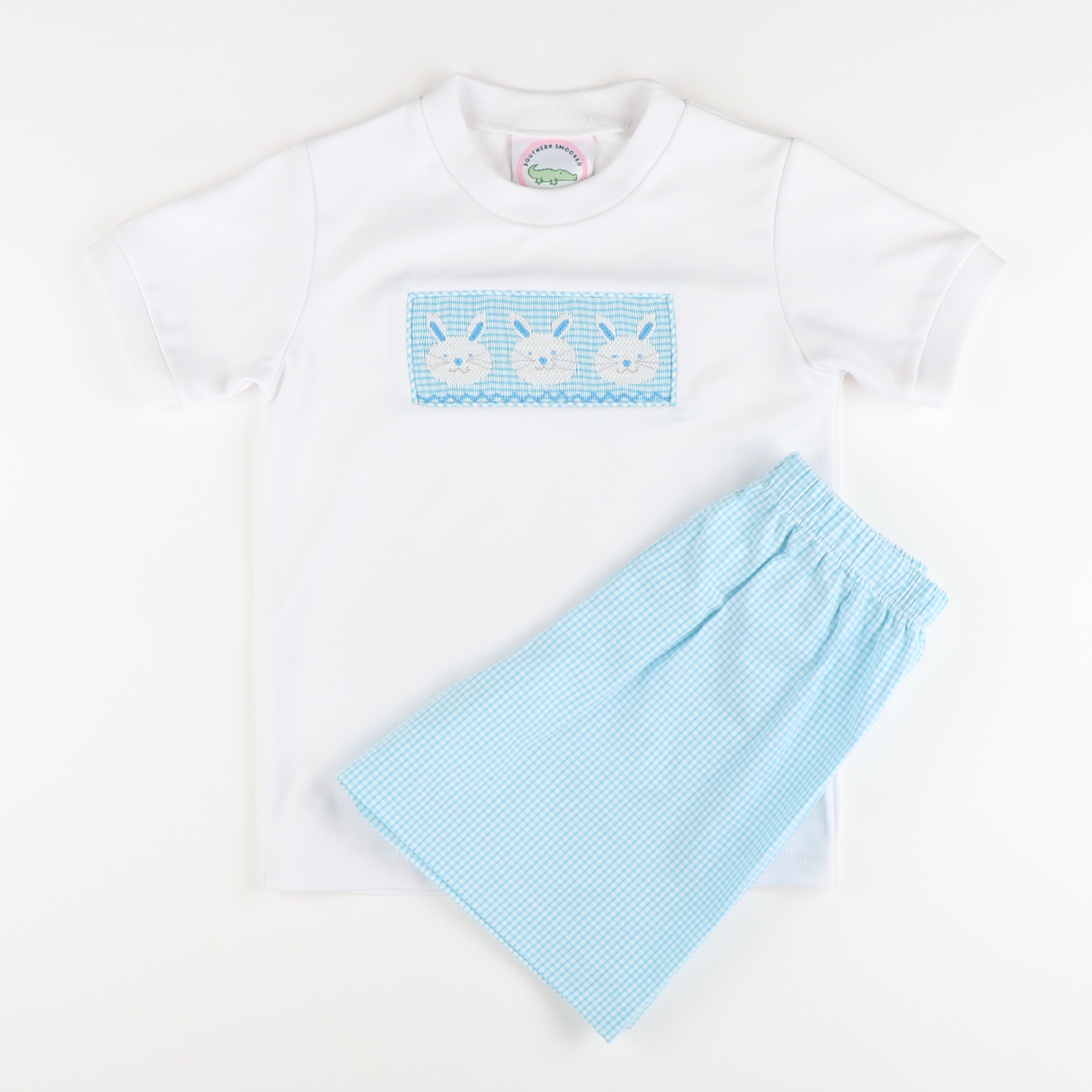 Smocked Bunny Face Shirt & Shorts Set - Turquoise Mini Gingham Seersucker