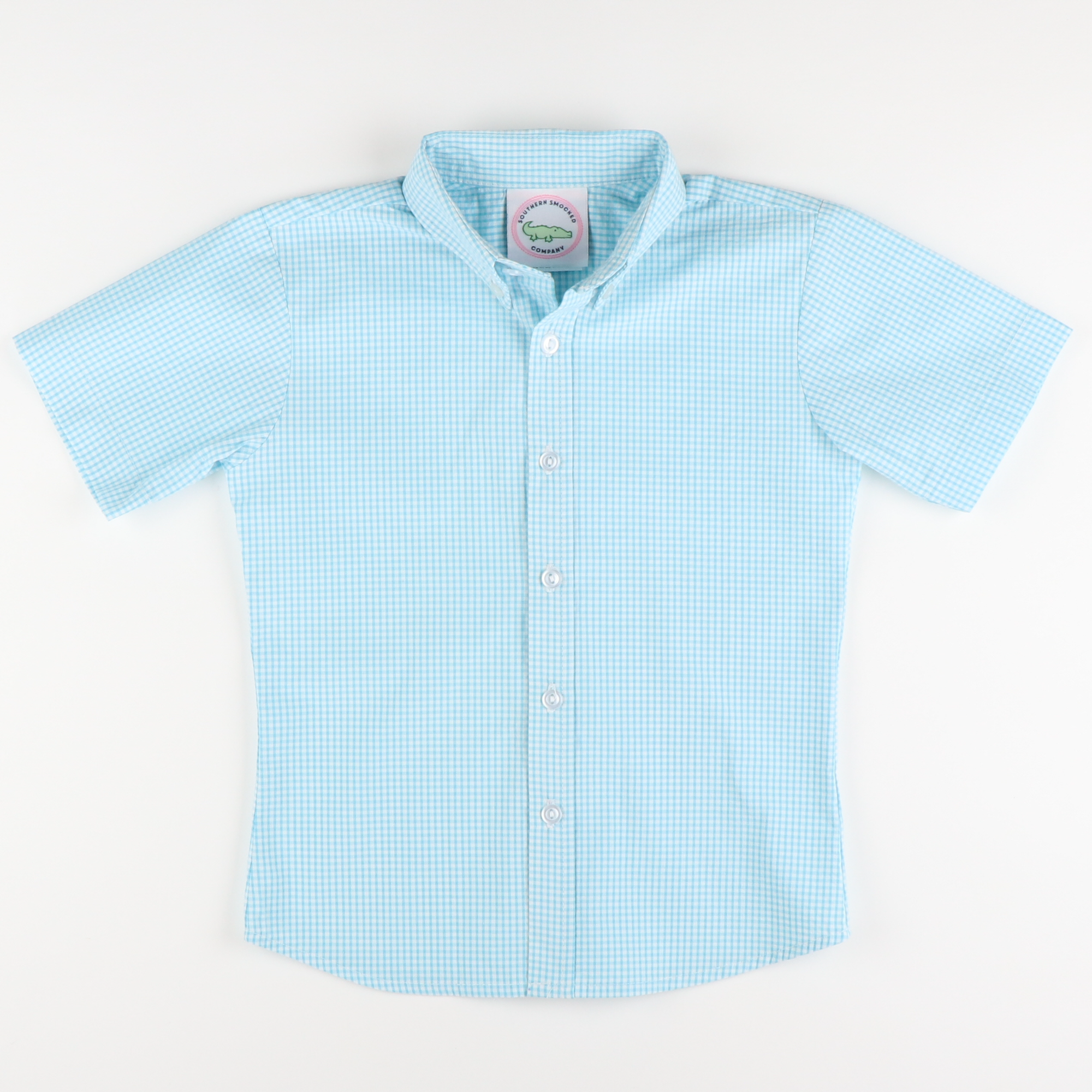 Signature S/S Button Down - Turquoise Mini Seersucker