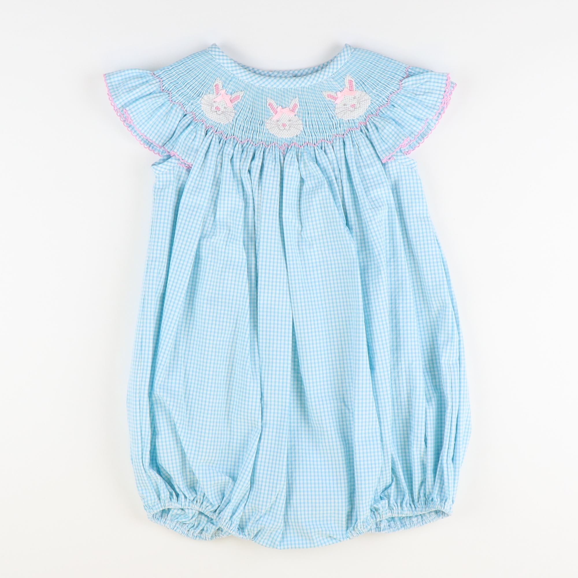 Smocked Bunny Face Bubble - Turquoise Mini Gingham Seersucker