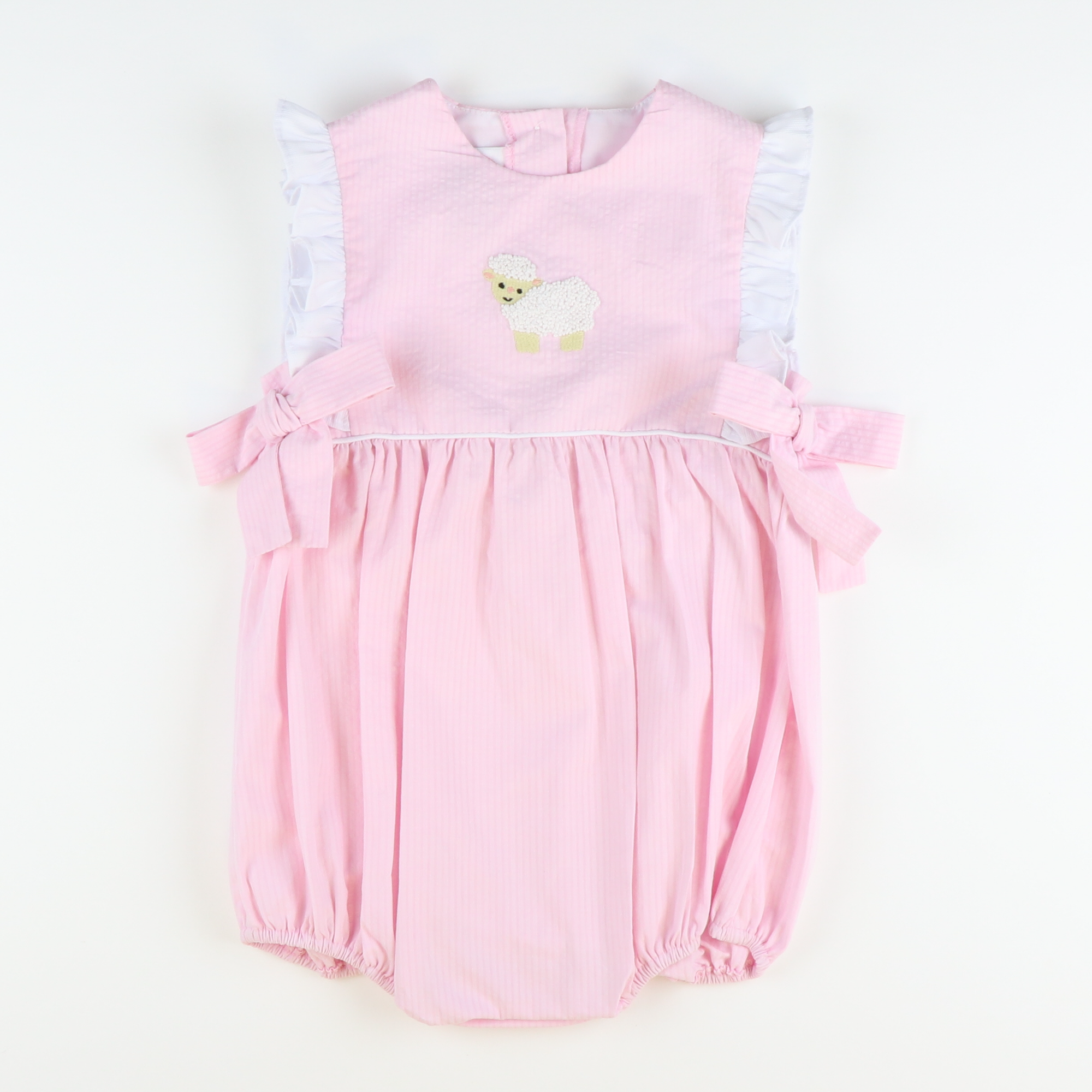Embroidered Lamb Girl Bubble - Pink Seersucker Chambray