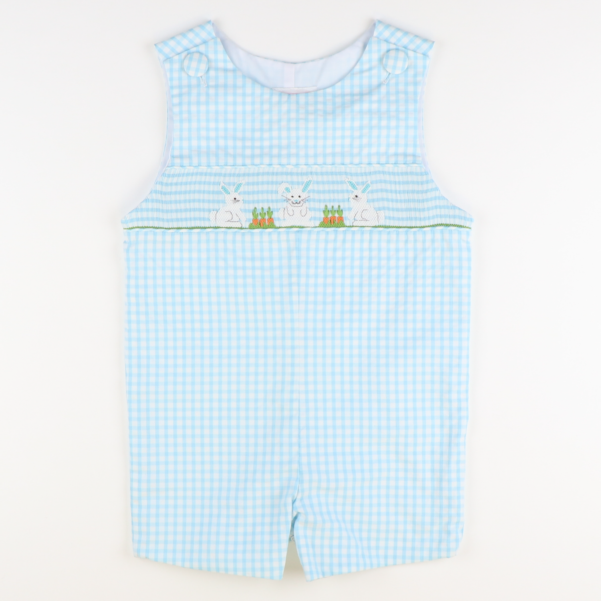 Smocked Garden Bunnies Sky Check Seersucker Shortall