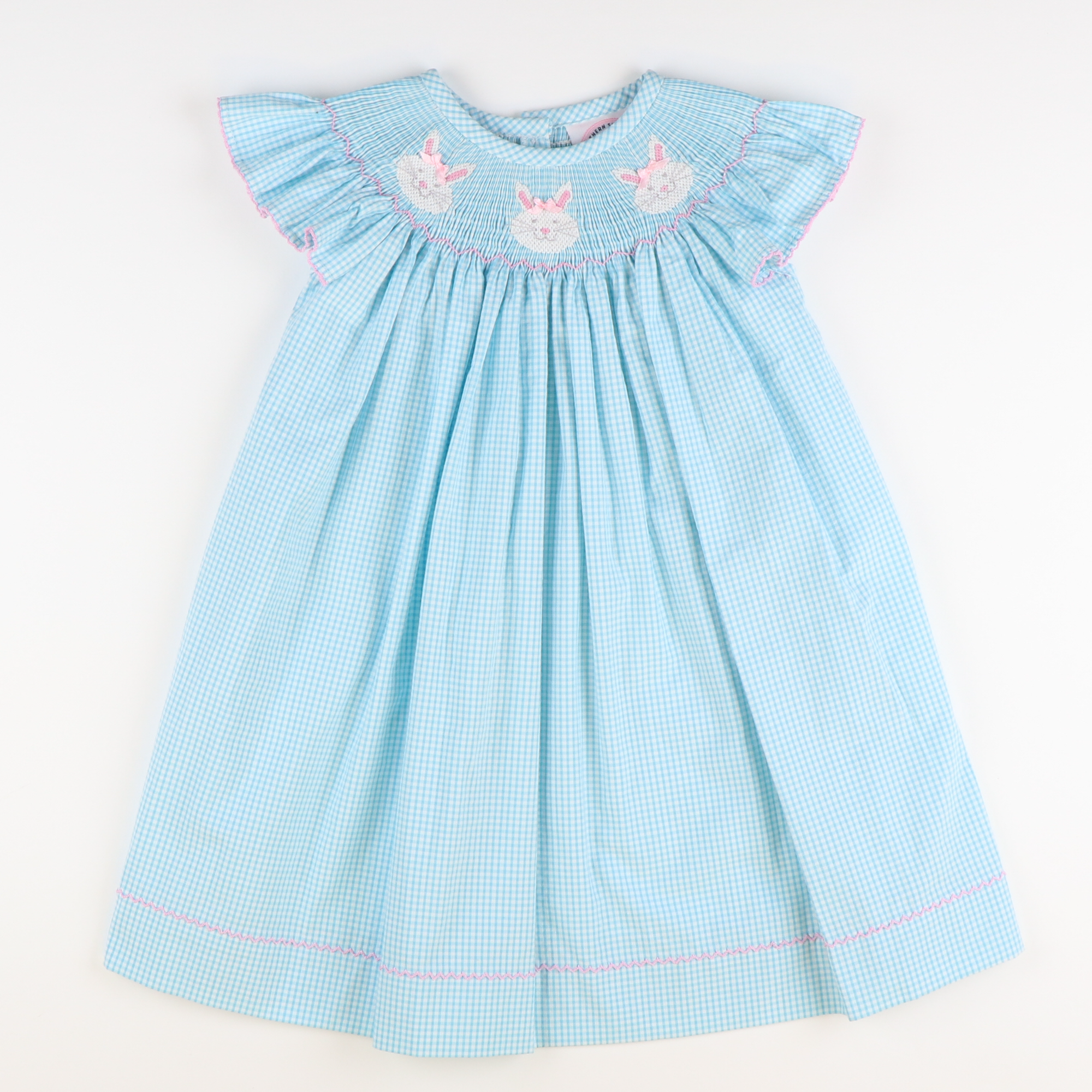 Smocked Bunny Face Bishop - Turquoise Mini Gingham Seersucker