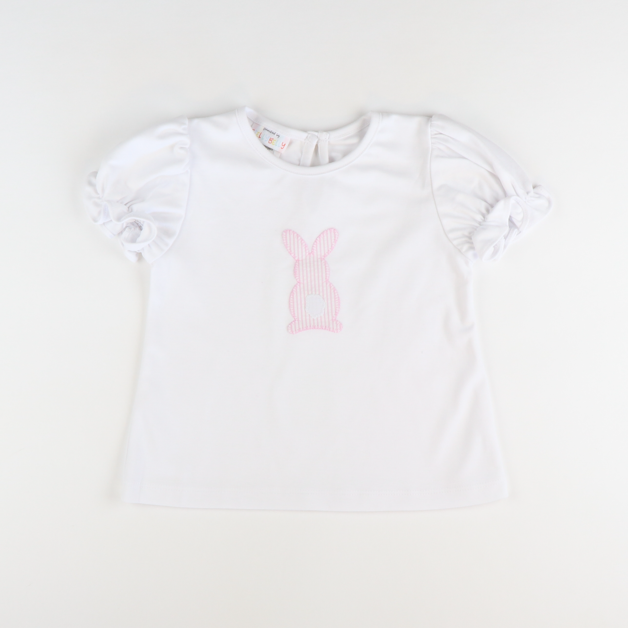 Appliqué Seersucker Bunny S/S Girl Shirt