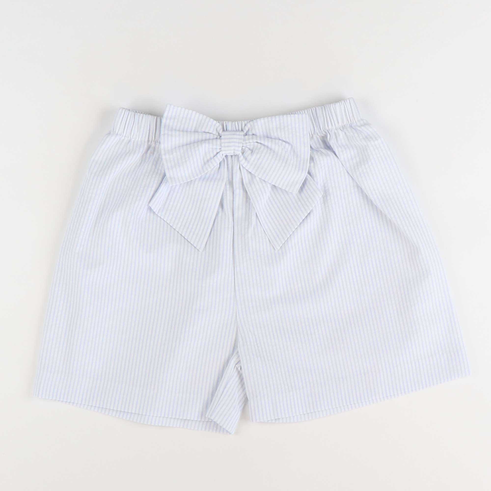 Seaside Seersucker Bow Shorts - Light Blue