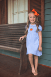SMOCKED PUMPKIN LIGHT BLUE GINGHAM DRESS