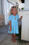 Smocked Turkey Aqua Gingham Dress