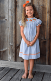Smocked Turkey Grey Gingham Bishop
