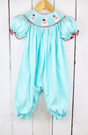 MINT SMOCKED SANTA LONG GIRL BUBBLE