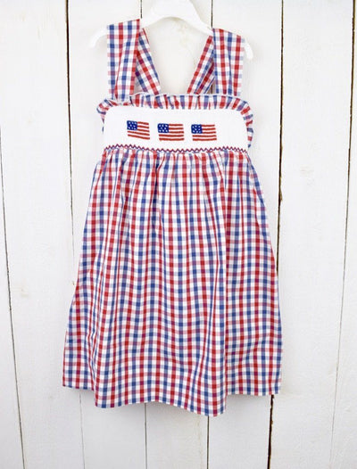 SMOCKED FLAG DRESS