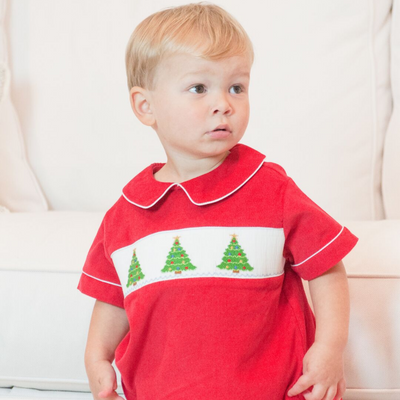 Smocked Christmas Tree Shirt & Pants Set