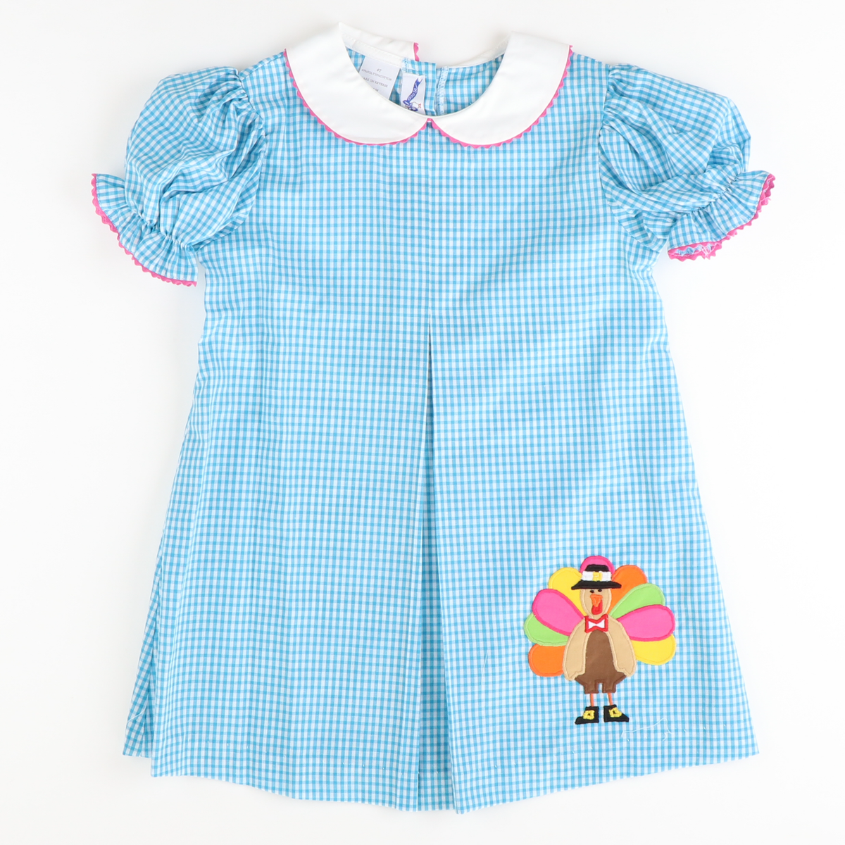 Turkey Appliqué Pleated Dress - Turquoise Check
